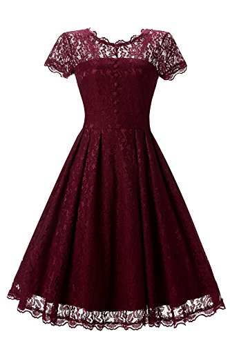 Gigileer Elegant Damen Kleider Spitzenkleid Cocktailkleid Knielanges Vintage 50er Jahr hochzeit Party weinrot XL