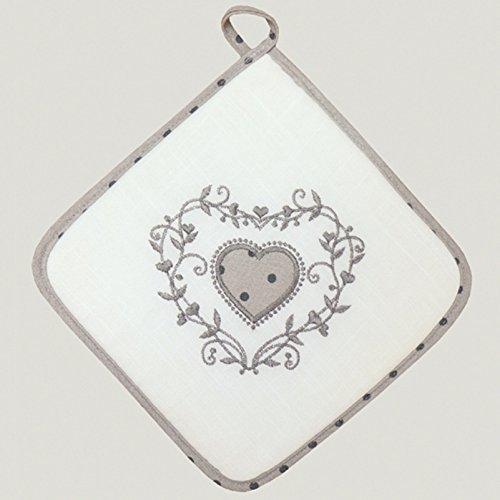 Topflappen MODERN LANDHAUS 20 x 20 cm Stickerei Herz mit Pünktchen grau weiß Shabby Chic Punkte Typ523 (Herz-topflappen)