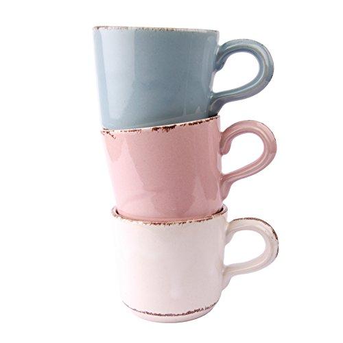 Gina Da Tasse Kaffeebecher Geschirr Blau Rosa Weiß Landhaus 200ml - Serie Tosca (Bunt [3er-Set])