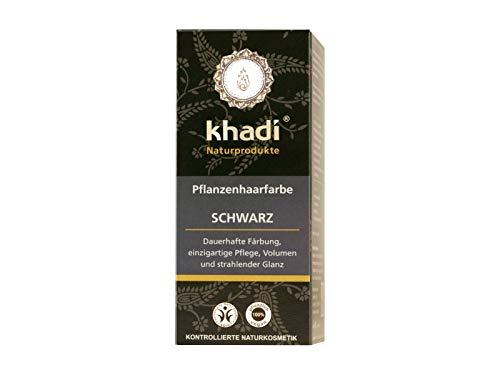 khadi Pflanzenhaarfarbe Schwarz 100g I schwarze Haarfarbe mit Indigo, Henna und Amla I...