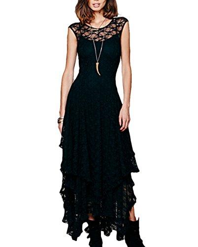 MEXI-El-vestido-de-partido-irregular-con-gradas-de-largo-sin-mangas-de-las-mujeres-atractivas-del-cordn-floral