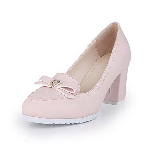 AllhqFashion Damen Rein Hoher Absatz Ziehen Auf Rund Zehe Pumps Schuhe Pink