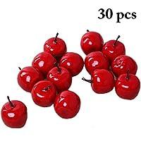 Jushi 4 Pezzi Rosso Artificiale Mele Decorativo Grandi Simulati Frutta Mela Rossa in plastica per la Decorazione Domestica del Partito