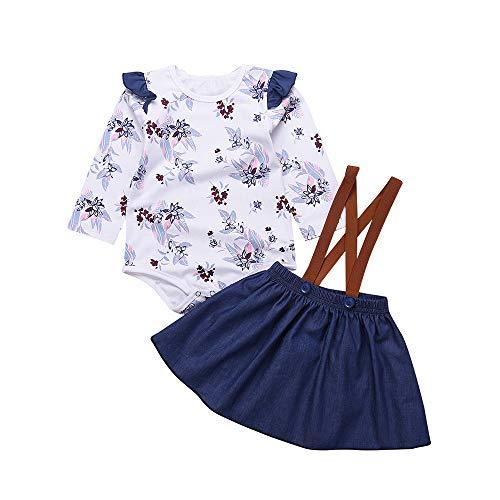 YWLINK Neugeborene MäDchen RüSchen Strampler Blumenspielanzug-Overall Kleid Denim Rock Kleidung Set(Weiß,12 Monate)