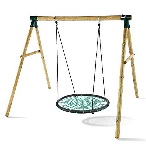 Oldhorse Nestschaukel Tellerschaukel Ø 100cm Rundschaukel Kinderschaukel Gartenschaukel Schaukel Schaukelsitz bis 150KG Verstellbare Schaukelsitz Swing Set für Kinder(DE Lager) (Grün)