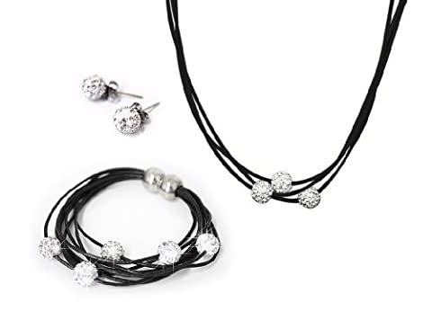 3 pcs Shamballa Jewelry Set (Necklace + Bracelet + Earrings)