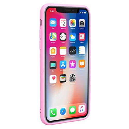 Yokata Cover per iPhone X iPhone 10 Silicone Disegni Rigida Case Originale Fantasia Divertenti Caso Custodia gel Gomma TPU Morbido Ultra Slim Impermeabile Antiurto Protettiva Shell + Penna - Blu Frasi Rosa Gufo