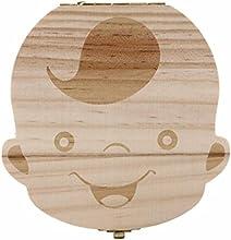 Longra Diente organizador de la caja de caja de almacenamiento de los dientes de leche del bebé Guardar madera para los niños muchacho y muchacha B
