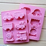 Vedini™ Silicone 6 Cavity Car Jeep Bus Thomas Train Shapes Soap Making Silicone Mould Fondant Chocolate Resin Clay Candle DIY