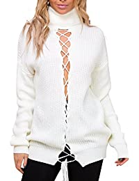 Simplee Apparel Damen Lang Pullover Winter Herbst Casual Langarm Lace up  Rollkragen Strickpullover Sweater Jumper Weiß 100545b5d1
