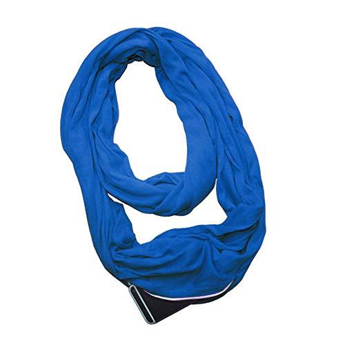 ty Scarf Leichtes Versteckter Reißverschluss Aufbewahrungstasche Travel Wrap Lätzchen für Smartphone Lippenstift Passport,Blue ()