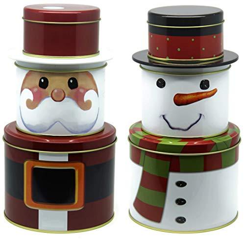 Bada Bing 6tlg. Set Metalldose Keksdose Weihnachtsmann Nikolaus Schneemann Plätzchendose Weihnachtsdose Rund Stapelbar Trend 05