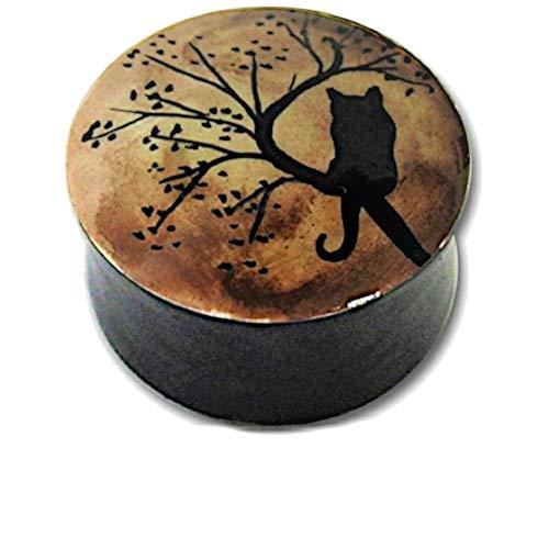 Chic-Net Holz Plug handbemalt Baum Katze schwarz braun Tribal Tunnel Organic Expander handgeschnitzt 16 mm