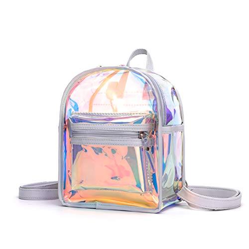 Naduew Holographic Backpack Women PVC, transparenter Mini-Rucksack für Einkäufe, Ausflüge, Strand