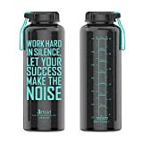 Artoid Mode 1500ml Bottiglia d'acqua per allenamento fitness motivazionale con indicatore del tempo e misure | Tempi segnati dall'obiettivo per il monitoraggio dell'idratazione per ora, senza BPA