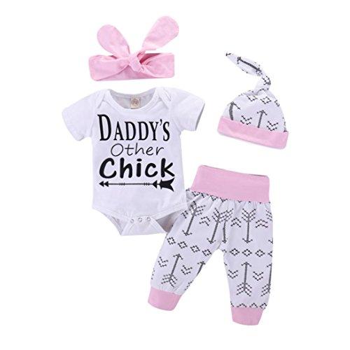 Style_Dress Baby Kleidung Set 4Pcs Neugeborene Jungen Mädchen Sommer Kurzarm Strampler Overall Tops+Hosen+Hut+Stirnbänder Romper Outfits Spielanzug Set (Weiß, 0-3 Monate)