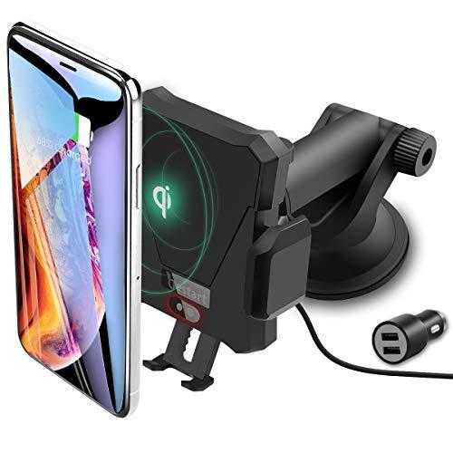 Caricatore Wireless Supporto Smartphone Auto, 10W Caricabatterie Wireless Qi Air Vent Mount Cellulare per Samsung Galaxy S10/S9/S9+/S8/S8+/Note 8,iPhone XS Max XR X 8 Plus e Dispositivi Qi-Enab