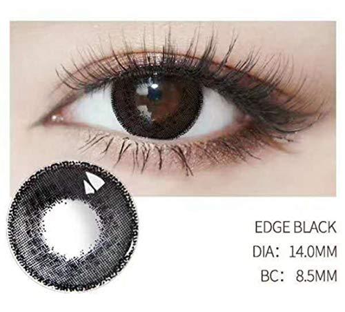 NO LOGO 1 Paar Farbige Kontaktiert Lenses Augen Make-up Make-up-Kreis Edge Series 1 Jahr, 0.00 Dioptrien (Farbe : Schwarz)