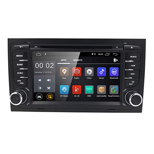 Android 7.1 in Dash GPS DVD Player for Audi A4 S4 RS4 Auto Radio Navigation 8inch HD Touchscreen 2GB RAM Wifi 4G Bluetooth Support TPMS DAB+ OBD2 DVB-T