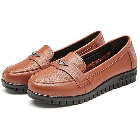 LYF KIU scarpe basse di cuoio di autunno scivolano/ Low-scarpe col tacco di moda fondo morbido