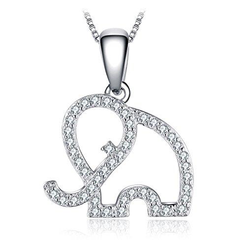 Jewelrypalace Colgante Elefante 0.2ct Circonita en plata de ley 925