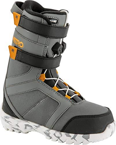 Nitro Snowboards Rover QLS '19 Leichter Warmer Kids Snowboardboot Kinder Snowboardschuh mit Schnellschnürsystem Boots, Charc-Blk-Orange, 17.5
