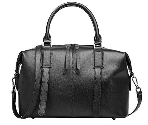 GKKXUE Damen Ledertasche Große Kapazität Handtasche Schulter Messenger Bag Europa und die Vereinigten Staaten Mode Boston Tasche (Farbe : Schwarz) (Bag Schwarz Boston)