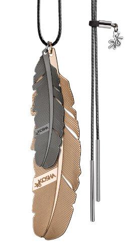 KOSHA swiss made - Collier femme/homme - Cordon ou chaine réglable de 100 à 40cm - Deux pendentifs plume 1x50mm 1x65mm Or Noir-Or Rouge cordon