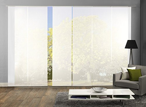 wohnfuehlidee 6er-Set Flächenvorhänge ROM transparent uni weiss