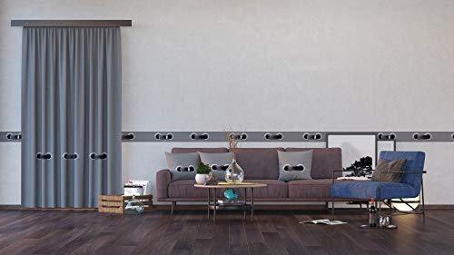 AG Design Grauer Gürtel, Vorhänge für Wohnzimmer, Küche, Schlafzimmer, 140 x 245 cm