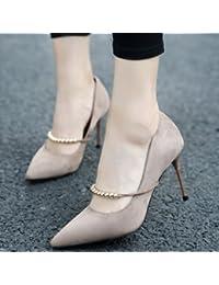 MDRW-Lady Elegante Trabajo Ocio Muelle Suede Superficial Cadena Metálica  Boca 9Cm Es Fina Con High-Heeled Zapatos… 8fec6cac2d14