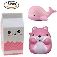 Scoolr Kawaii Squishy Milk Bottle & Dolphin & Hamster Toys Jumbo Slow Rising Squishies Stress Relief Toys Soft Stretchy Scented Squeeze Toys Phone Straps Key Chains Hop Props, Pack of 3