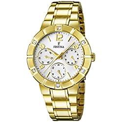 University Sports Press F16708/1 - Reloj de cuarzo para mujer, con correa de acero inoxidable chapado, color dorado