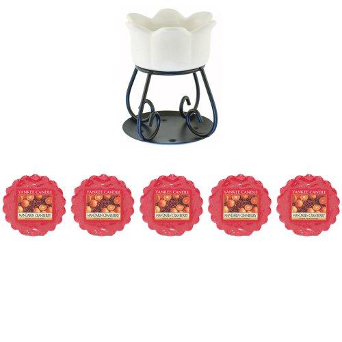 Yankee Candle - 5 x Mandarine et canneberge Tartelettes + Pétale Bol à tarte Brûleur - Brûleur (nouvelle Couleur Blanc pour 2014)