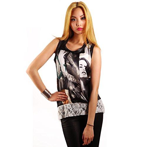Made in Italy Satin Look Druck Shirt Spitze Vokuhila TShirt 3436 One Size  Schwarz/Weiß