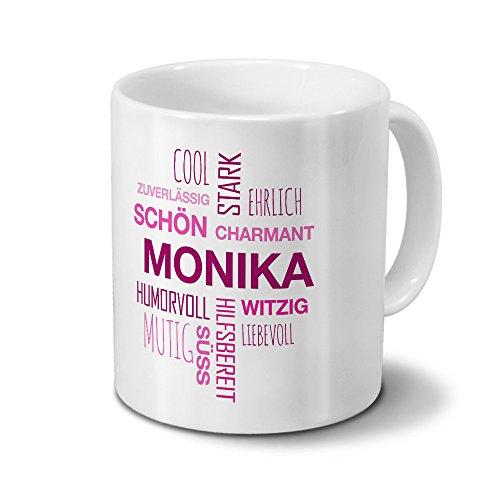 Tasse mit Namen Monika Positive Eigenschaften Tagcloud - Pink - Namenstasse, Kaffeebecher, Mug,...
