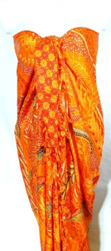 Paréo Drap de Plage Bain Mer Sarong Beach Cover Up Wrap Skirt ORANGE Pareo