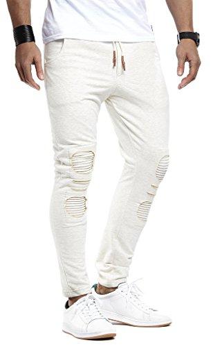 LEIF NELSON Herren Jeans Freitzeithose Jogginghose Trainingsanzug Fitness LN8012; Größe S; Ecru |