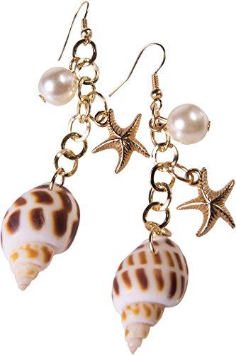 (Damen Kostüm Verkleidung Zubehör Muschel Seestern Perle Meerjungfrau Ohrringe)