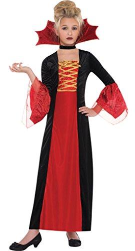 erdbeerloft - Mädchen Karneval Halloween Kostüm Kleid Vampire Princess, Rot, Größe 116-128, 6-8 ()