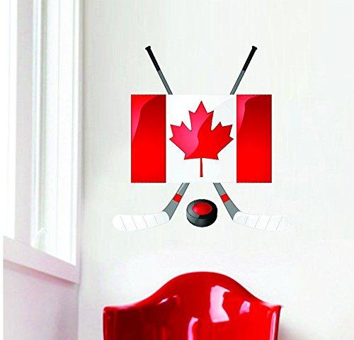Design mit Vinyl Rad 6563Kanadisches Kanada Flagge Hockey Sticks & Puck Vinyl Wand Aufkleber 16