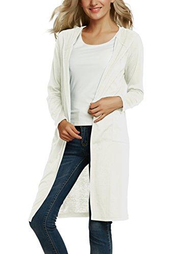 Urban GoCo Damen Strickjacke Longline Cardigan mit Kap (M, Weiß) (Damen-strickjacke Vorderseite)