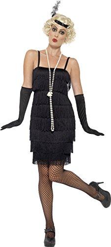 (Smiffys 45498S - Damen Flapper Kostüm, Kurzes Kleid, Haarband und Handschuhe, Größe: 36-38, schwarz)