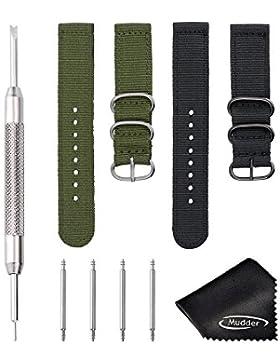 Mudder 2 Stück 20 mm Nylon Uhrenarmband Ersatz Uhr Armband mit Uhr Pins Federsteg Stock Werkzeug und Reinigungstuch...