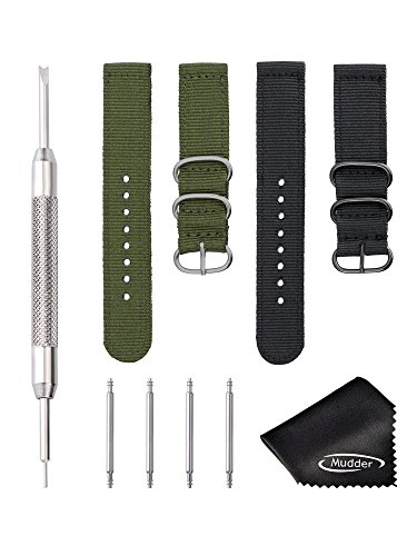 mudder-2-pieces-20-mm-nylon-watch-band-with-watch-pins-spring-bar-tool-and-cleaning-cloth-2-colors
