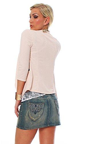 10475 Fashion4Young Damen Kurzjacke Blazer Jäckchen Jacke kurze Bolero-Design verfügbar in 6 Farben Apricot