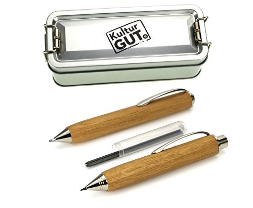 Geschenk Set Officebox X-Change Kugelschreiber und Fallminen Bleistift 2.0, in Eiche Hell, mit Ersatzminen in Klappbox
