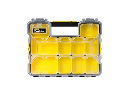Stanley FatMax Werkzeug-Profi-Organizer (45 x 7 x 36 cm, flache Fächer, mit Klappdeckel und Kunststoffschnallen, 10 herausnehmbare Boxen) 1-97-519 Organizer-tool-box