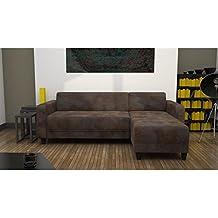 finlandek sofá de esquina reversible Vintage Kulma 5plazas–205x 140x 70cm–Tejido antikk–marrón