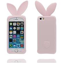 Carcasa iPhone 5 Case, [ 3D Cartoon Conejo oreja ] Cover iPhone 5C 5S 5G SE Funda, TPU resistente a los arañazos deslizamiento polvo